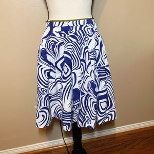 Cabi Blue and White A-Line Skirt sz 4